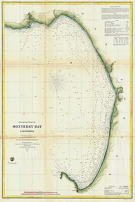1857 Nautical Chart US Coast Coastal Survey Map Decor Monterey Bay California