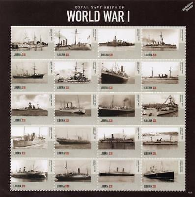 Royal Navy Warships of World War I WWI Ship Stamp Sheet # 2 (2015 Liberia)