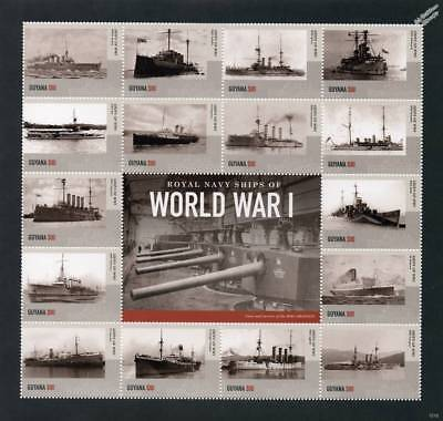 Royal Navy Warships of World War I WWI Ship Stamp Sheet # 4 (2015 Guyana)