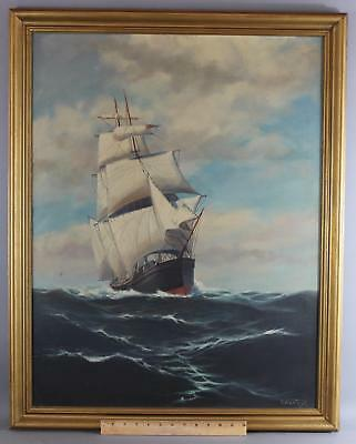 Antique Signed T. BAILEY Clipper Ship American Seascape Maritime Oil Painting NR