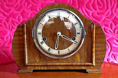 Vintage Art Deco Haller Foreign 8-Day Oak Case Mantel Clock with Chimes