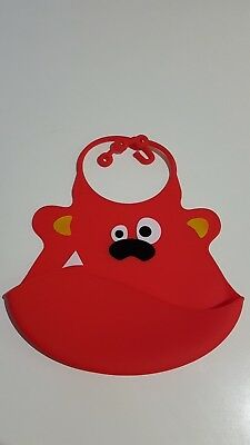 3 Colours!! Silicone Baby Bib Dishwasher safe travel BPA Free Flexible silicon