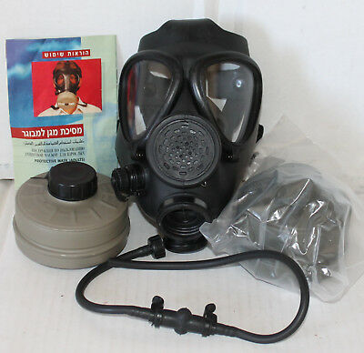 LARGE Israeli M15 CIVILIAN Gas Mask DRINKING TUBE Instructions TWO 40mm Filters