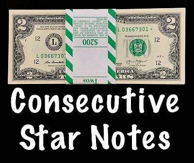 2013 San Francisco 2$ Consecutive Star Notes BEP Strap Replacement Notes UNC L2