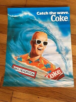 Max Headroom Coke Poster Catch the wave 14 x 17