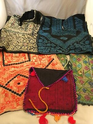 Vintage Lot of Guatemalan Fabric Handwoven Hand Embroidered Hippie Boho Textiles