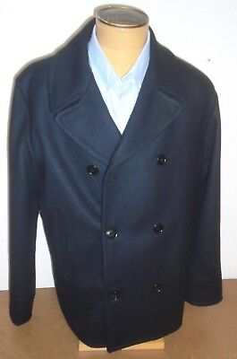 Filson 100% Wool Hatch Double Breasted Peacoat Navy XL  $395 Navy Made in USA