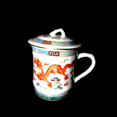 Asian Tea Cup with Lid Ceramic Coffee Mug Chinese Dragon