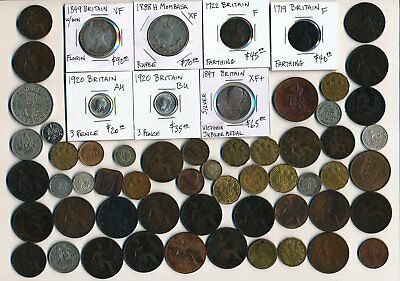 60 Old British & Ex-Colony Coins & A Few Medals/tokens > Collectibles > No Rsrv