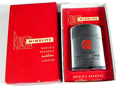 Vintage 1950's RONSON ADVERTISNG LIGHTER RCA radio tubes electronics WINDLITE