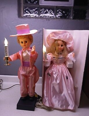 Animated Easter Spring Couple Boy and Girl Store Display Pink Costumes Victorian