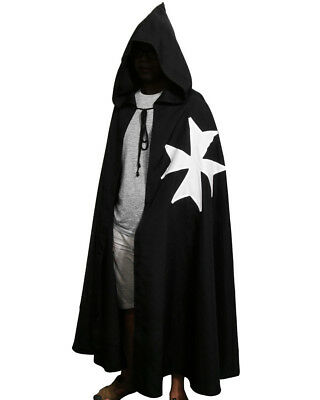 Medieval Crusader LARP Cross Cloak Cosplay Costume Templar Knights Tunic CAPE
