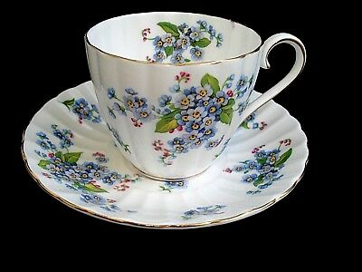 ROYAL TUSCAN FORGET-ME-NOT CERAMIC TEACUP AND SAUCER MADE IN ENGLAND Wedgewood