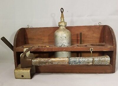 Rustic Primitive Wooden Carpenters Wall Tool Box Caddy Tote Hammer Bottle Prop