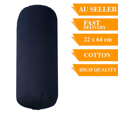 Yoga Prop Bolster Cotton Removable Cover Back Support Fitness 64cm Navy