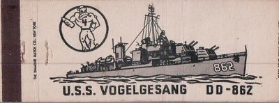 "Military Ship / U.s.s. Vogelgesang ""full Length"" Dd-862  Matchcover"