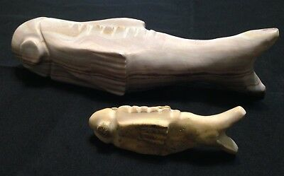 Carved Fish Stone Rock Set Lot 2 Heavy
