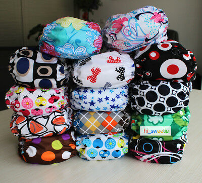 Baby Infant One Size Reusable Cloth Diapers Newborn Hip Snap Pocket Nappy Covers