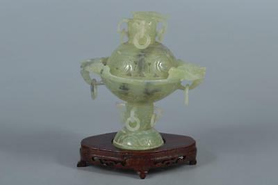 M8899: XF Chinese Stone Beast sculpture INCENSE BURNER Tea Ceremony w/tray