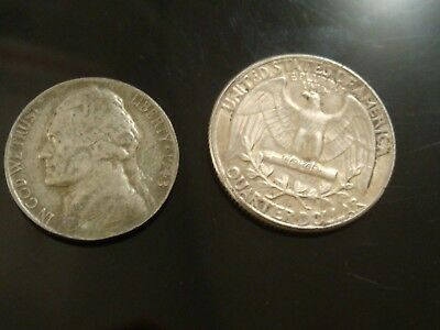 2 Two Sided magician Coins Silver War Nickel headsheads Wash Quarter tailstails