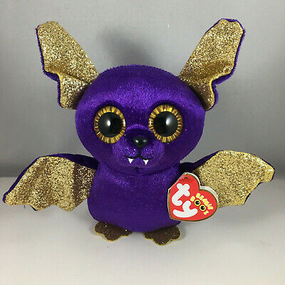 "2018 Halloween TY Beanie Boos 6"" COUNT Purple Bat Plush w/ MWMT's Ty Heart Tags"