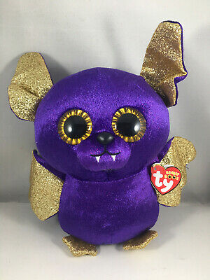 "2018 Halloween TY Beanie Boos 9"" Medium COUNT Purple Bat Plush MWMT's Heart Tags"