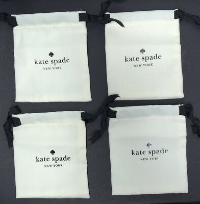 """Lot of 4 KATE SPADE Small White Jewelry Pouch for Earrings/Ring 4""""x4"""""""