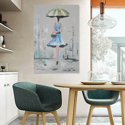 Large Modern Oil Painting Hand-painted Art Wall Decor Canvas Lady Framed 60*90cm