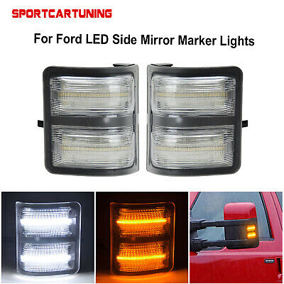 Clear Lens LED Side Mirror Marker Lights For 2008-2016 Ford F250 F350 F450 F550
