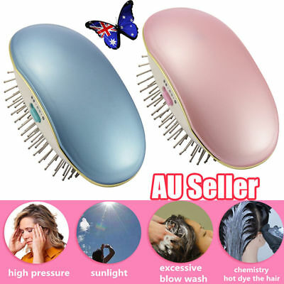 AU Portable Electric Ionic Hairbrush Takeout Mini Hair Brush Comb Massage Small