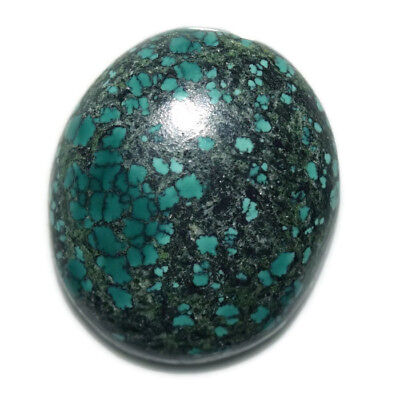 28.7 Ct Natural Tibet Turquise Oval Shape Cabochon Loose Gemstone HJ_43_97