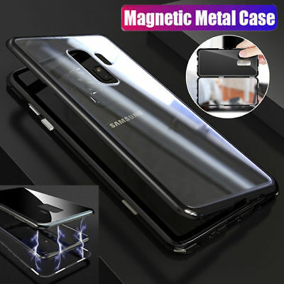 Magnetic Adsorption Metal Bumper Glass Case Cover For Samsung Galaxy S9 S8 Plus