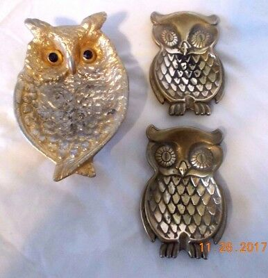 Vintage Solid Brass (3) OWLs - Coin tray, Ash tray -1 Large, 2 Small
