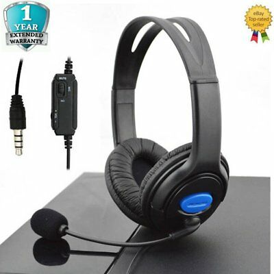 Wired PS4 PS3 Stereo Gaming Headset Headphone w/ Mic In-Line Volume Control GM