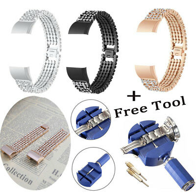 New Crystal Stainless Steel Watch Band Wrist Strap Fo Fitbit charge 2 +Free Tool