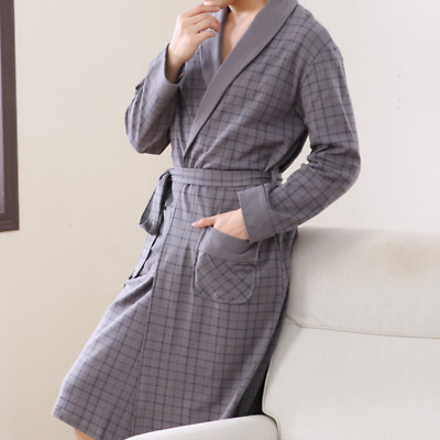 AU Mens 100% Cotton Bathrobe Luxury Soft Lightweight Dressing Gown Robe Toweling