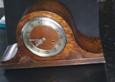 Vintage Badische Uhrenfabrik German Oak Case Striking Napoleon Mantle Clock