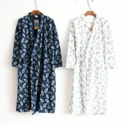 Hot Men Kimono Yukata Pajamas Cotton Soft Japanese Bathrobe Robe Gown Nightwear