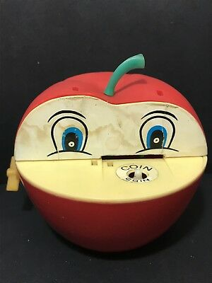 Vintage Wind Up Moneybox APPLE WITH WORM COIN BANK 1970s Money Box, Hong Kong