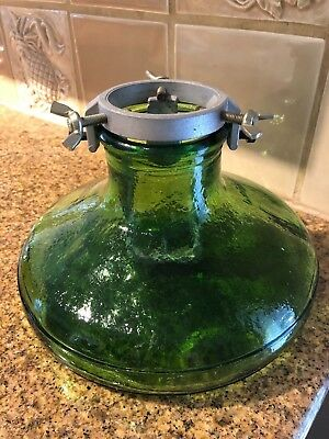 """C1930 Green Glass & Aluminum Tree Stand 1/2"""" Glass Excellent No Damage"""