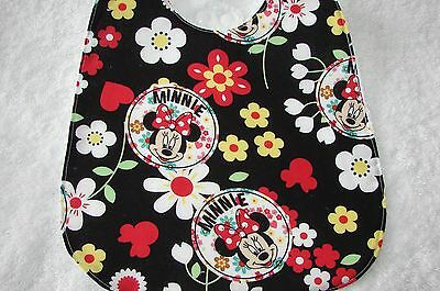 Minnie Mouse Black Baby Bib Cotton Front Towelling Back Handmade