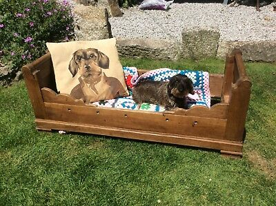 Antique French Wooden Baby Crib/Cot (Dog Bed)