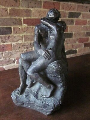"""Beautiful vintage statue/sculpture after Rodin's """"The Kiss""""."""