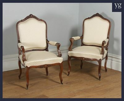 Antique French Pair Louis XV Style Walnut Upholstered Salon Fauteuil Armchairs
