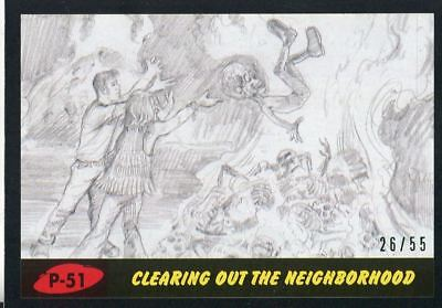 Mars Attacks The Revenge Black [55] Pencil Art Base Card P-51 Clearing out the
