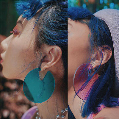Geometric Circle Notch Earrings Candy Color Transparent Round Acrylic Ear Stud