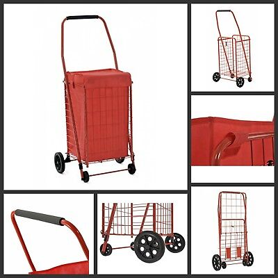 Folding Shopping Cart Utility Basket With Four Caster Wheels 66 Lbs Capacity Red