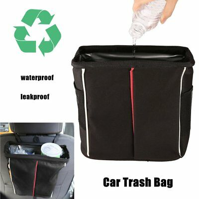 Car Trash Bin Bag Waste Storage Garbage Leakproof Can Organizer w/Lid Pockets NV