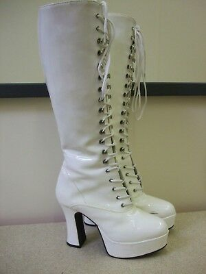 Funtasma Fancy Dress Platform Boots 60s/70s Retro Gogo White UK4 - 5