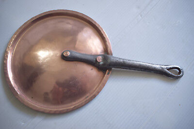 Vintage Copper Pot Lid Cover Cast Iron Copper Riveted French Hammered 17cm